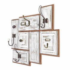 Garderobe 7 Haken Tannenholz weiß ca B:51 x L:65 cm
