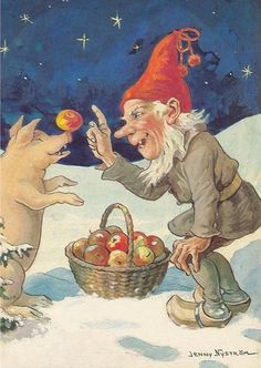 Gnome gives a pig an apple. Vintage Christmas Cards, Scandinavian Christmas, Mythological Creatures, Fantasy Creatures, Troll, Gnome Pictures, Most Popular Artists, Nordic Lights, Kobold