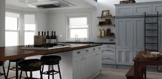 Wren Kitchens: Country Kitchen in Sea Foam and Parchment Matt - this traditional design is complemented beautifully by the elegant colour combination; the matt finish giving it a soft feel.