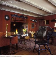 early american | LIVING ROOMS - Large open hearth fireplace, early American style ...