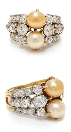3336e1b1a An Edwardian Platinum Topped Gold, Natural Pearl and Diamond Ring, Tiffany  & Co.