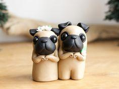 Pug Wedding Cake Topper by Bonjour Poupette by BonjourPoupette