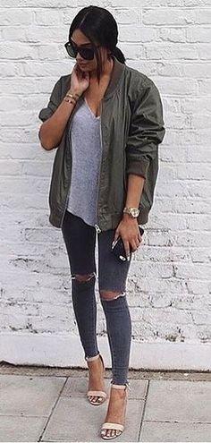Army Jacket // Grey V-neck Top // Destroyed Skinny Jeans                                                                             Source