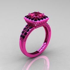 Pink gold!!!! Tacky AND expensive. You can have it all!    Classic 14K Pink Gold 1.23 Carat Princess Pink Sapphire Black Diamond Solitaire Engagement Ring R220P-14KPGBDPS. $3,099.00, via Etsy.