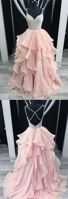 Charming Beading V-neck Cross Back Pink Prom Dresses Ball Gowns Organza Ruffles P1873