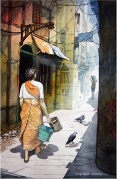 Buy Kolkata artwork number a famous painting by an Indian Artist R. Indian Art Ideas offer contemporary and modern art at reasonable price. Indian Art Paintings, Nature Paintings, Beautiful Paintings, Art Village, Watercolor Landscape Paintings, Watercolor Art, Abstract Paintings, Oil Paintings, Painting Art