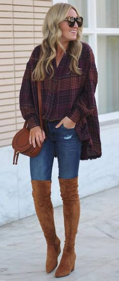 how to style a plaid shirt dress : skinnies + bag + brown over knee boots