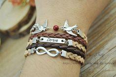 Brown braided leather braceletSilver little bird & by Richardwu, $6.25