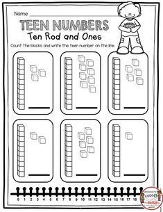 TEEN NUMBERS - Free worksheets and activities for your kindergarten or first grade math unit - number and operations in base ten common core math unit - place value - tricky teens math centers math worksheets common core activities Tens And Ones Worksheets, Place Value Worksheets, Math Place Value, First Grade Worksheets, Free Math Worksheets, Place Values, Numbers Kindergarten, Kindergarten Worksheets, Math Activities