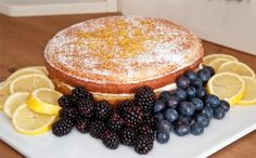 Lemon drizzle cake with cream cheese filling