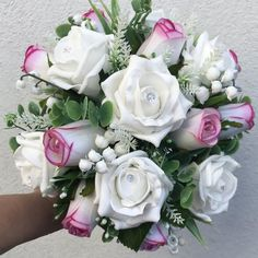 An artificial wedding bouquet featuring pink and white roses Beach Wedding Headpieces, Headpiece Wedding, Pink And White Flowers, White Roses, Artificial Wedding Bouquets, Foam Roses, Ivory Roses, Gerbera, Lily Of The Valley