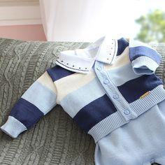 Saída de Maternidade Listrado 3 cores Azul Bebê