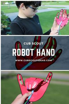 Perfect for the Bear Cub Scout Robotics adventure, this robot hand for kids to make is a fun STEM project. Get step-by-step instructions for how to make your robot hand.  #CubScouts #CubScout #Scouting #STEM #KidsActivities