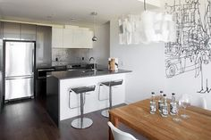 Evolo 2 - Spaces - Montreal - Evolo Condominiums inc. Condominium, Montreal, Kitchen Island, Spaces, Table, Furniture, Home Decor, Island Kitchen, Decoration Home