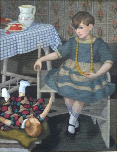 Felice Casorati   Mazzoleni Art - Bambina con bambola - 1929
