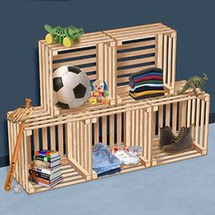 "Stackable Storage Crates DIY Woodcraft Pattern #2298- Stackable Crates Your kids will enjoy keeping their rooms organized and clean with these open air, stackable crates. 2 Designs 9""D x 19""W x 19"", & 14""D x 19""W x 19""W. Pattern by Sherwood Creations #woodworking #woodcrafts #pattern #craft #crate"