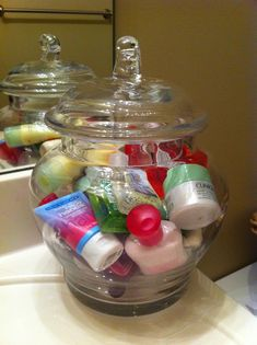 Store all your travel size goodies in a pretty glass jar in the guest bathroom!