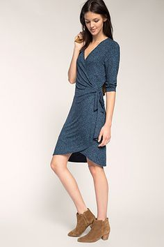Esprit / stretchy wrap-over effect jersey dress