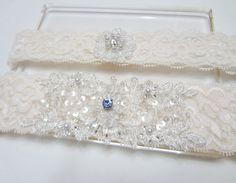 Wedding garter set - something blue, Wedding bridal garter, lace garter, Ivory lace with Swavoski rhinestone