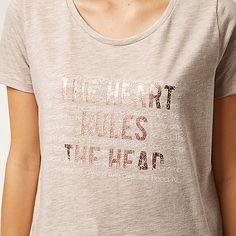 Beige slogan print oversized t-shirt