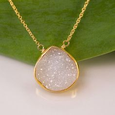 White Agate Druzy Necklace - 14k Gold from fort lee | Things I