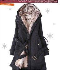 Women Winter Long Coat Lady Black Jacket Parka Thickness:regular Material: Acrylic Fibers & Polyeste