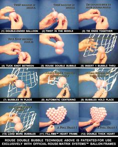 EXCEPTIONALLY EASY --- This heart is one example of a Rouse Original and patented technique that makes it exceptionally easy to build graphics and sculpture with double-ended balloons like Quick Link Balloons™ and Link-O-Loons™. --- See 90 second video instructions & more at http://madewithballoons.com/rouseings/?p=1965