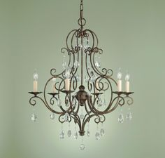 Feiss Chateau Collection 6 Light Chandelier in Ceiling Lights, Chandeliers, Crystal Chandeliers: LightsOnline.com