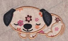 Applique Sleeping Dog Machine Embroidery by 8clawsandapaw on Etsy, $1.95