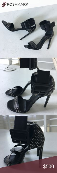 YSL Stud Heels 👠 Never been worn! Amazing Condition. Size 9. Ankle belt is stunning. Considering all made offers. Purchase will go to highest bidder ⭐️ Yves Saint Laurent Shoes Heels
