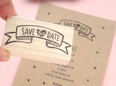 Save the date rubber stamp invitation kit Hand letterning