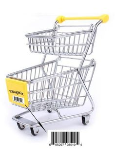ThinkMax Mini supermarket shopping cart decoration, storage box, cellphone holder, creative novelty gift Double-deck-yellow >>> Details can be found by clicking on the image.