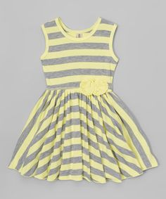 Love this Yellow & Gray Stripe Flower A-Line Dress - Toddler on #zulily! #zulilyfinds