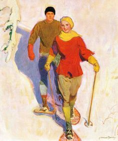 Couple Wearing Snowshoes by McClelland Barclay Painting Print on Canvas
