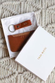 Handmade leather cardholder and keyring #personalise