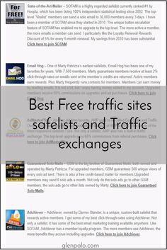 Best Free traffic sites safelists and Traffic exchanges / glenpalo.com