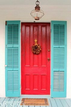Seafoam Green House Exterior With Red Door Google Search