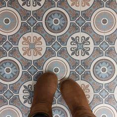 May Is A Retro Floral Vinyl Flooring Design That Features A - Encaustic vinyl flooring