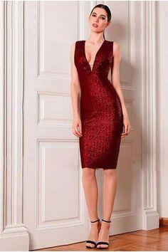 New Listing Knee Length Deep V Neckline Open Back Summer Burgundy Sparkly  Glitter Red Sequin Cocktail Dress Girl Flavour 857cbd0e3d7a