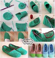 Knitting booties models and construction - Crochet Slippers / Socks . Crochet Slipper Pattern, Knitted Slippers, Crochet Slippers, Crochet Patterns, Crochet Woman, Crochet Baby, Free Crochet, Diy Crafts Crochet, Beautiful Crochet