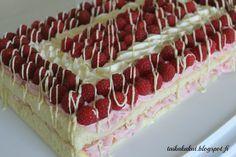 Tarun Taikakakut: Nopea vadelmaleivoskakku Finnish Recipes, Summer Cakes, Home Bakery, Sweet Pastries, Sweet Cakes, No Bake Cake, Vanilla Cake, Sweet Recipes, Good Food