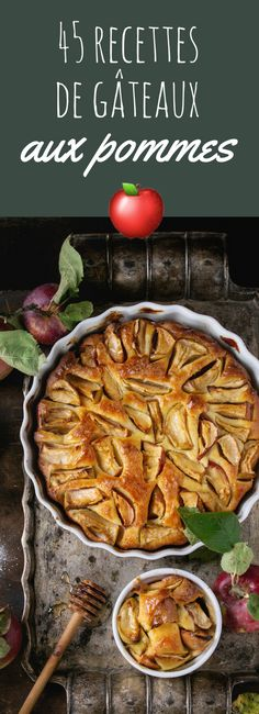 Homemade Apple Cake - Homemade big and small apple cake pie in white ceramic forms on vintage metal tray with fresh apples with leaves, sugar powder and honey over dark wooden background. Tart Recipes, Sweets Recipes, Key Food, Apple Cake, Homemade Cakes, Food Photography, Food And Drink, Cooking, Healthy