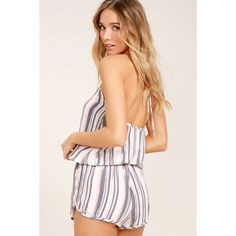 Beach Bound Blush Print Halter Romper (€45) ❤ liked on Polyvore featuring jumpsuits, rompers, pink, pink romper, pink rompers, beach romper, striped rompers and tie halter top