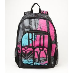 Roxy Noble Trek Backpack ($29) ❤ liked on Polyvore featuring bags, backpacks, accessories, purses, bolsas, padded backpack, logo bags, padded laptop backpack, cord bag and embroidered bags