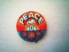 PEACE NOW - Flowers, Peace Dove, Sunrise - Anti Vietnam war button from 1969
