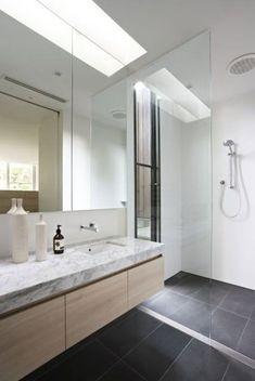 39 dark grey bathroom floor tiles ideas and pictures Grey Bathroom Floor, Dark Gray Bathroom, Wood Bathroom, Grey Bathrooms, Bathroom Renos, Laundry In Bathroom, Bathroom Layout, Beautiful Bathrooms, Bathroom Flooring