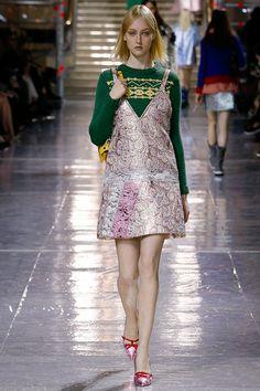 Miu Miu F/W '14 | Interesting concept...chunky fair isle pullover with brocade? #miumiurunway