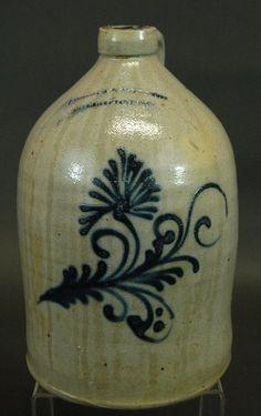Nichols & Boynton stoneware 2 gallon stoneware jug, cobalt decoration slight tobacco spit drip glaze, excellent condition.