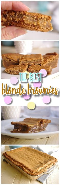 The Best Blonde Brownies Dessert Bars Recipe aka Easy Blondies Cookie Bars Recipe via Dreaming in DIY - The BEST (and so EASY) Blondies I've ever had! Ooey Gooey - The Caramelly texture of these is PERFECT and so Yummy!!