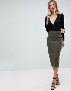 olive pencil skirt for women, affordable pencil skit for work, chic work wear for women on a budget, affordable work clothes for young women